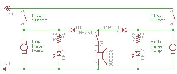 com bilge pump alarm i created the schematic above to document what i had in mind when the low float switch activates the main bilge pump yellow led1 will light and the